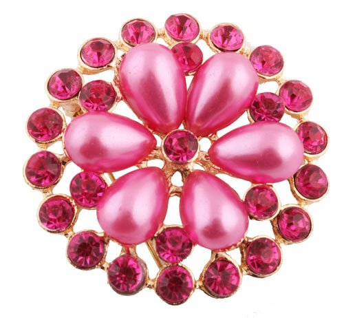 Ladies Gold with Metallic Fuchsia Iced Out Sun Wheel Pearl Flower Style Collar Brooch & Pin
