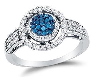 Size 7.75 - 10K White Gold Blue & White Round Diamond Halo Circle Engagement Ring - Channel Set Round Center Setting Shape (1/3 cttw.)