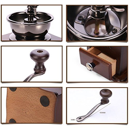ReaLegend Wooden Manual Coffee Grinder Vintage Style Hand Coffee Mill Burr Coffee Grinder with Ceramic Hand Crank 5