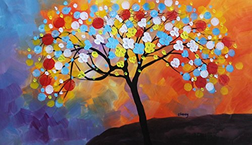 Sangu 100% Hand Painted Wood Framed 1-Piece Hot Sale Modern Colorful Tree People For Abstract Oil Painting Gift Canvas Wall Art For Home Decoration