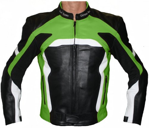 Motorcycle Biker Leather jacket Cowhide Combi Black/Green, Size:50