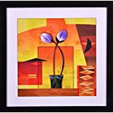 PAF Flower Floral Framed Painting (Synthetic, 35 Cm X 2 Cm X 35 Cm)