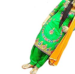 Reet Glamour Women 's Cotton Unstitched Yellow Punjabi Suit