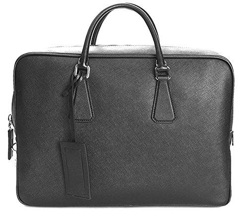 Prada Large Saffiano Leather VS0088 Briefcase Travel Bag Black