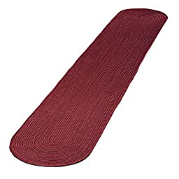 Extra Long Solid Braided Rug Runner, Burgundy, 20\