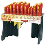 EXPERT DISPENSER WITH 48 x 960 VDE INSULATED SCREWDRIVERS - Freestanding acrylic display of Expert Quality 960 Range of VDE Approved Fully Insulated Screwdrivers, tested to 10kV, suitable for working on live circuits of 1kV AC and 1.5kV DC. Chrome vanadi