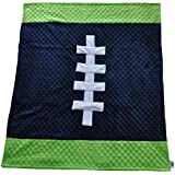 "Cozy Wozy Football Themed Minky Baby Blanket, Navy Blue/Lime Green, 30"" X 36"""