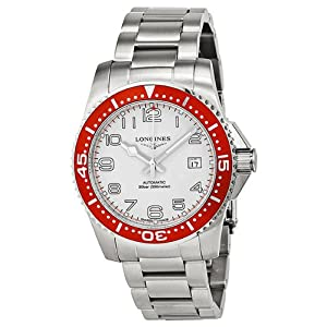 Longines Hydro Conquest White Dial Red Bezel Stainless Steel Mens Watch L36954196