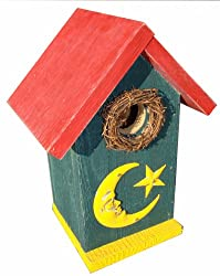 Funky Randy Birdhouse 11.5&quot; - Moon &amp; Star Blue/Yellow/Red Usable Freestanding Birdhouse R-128