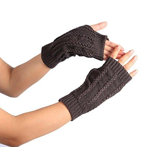 Vovotrade Winter Wrist Arm Hand Warmer Knitted Long Fingerless Gloves (Dark Gray-B)