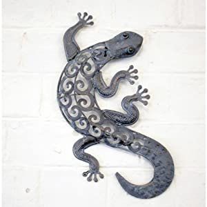 Decorative Metal Lizard Garden Wall Art For Garden & Home In A Bronze Finish by Gardens2You