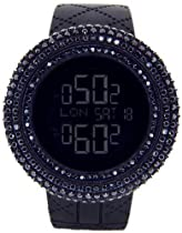 KING MASTER 25.00ct Lab Made Diamond Watch Joe Rodeo Aqua Master Jojino Watch All Blacked Out Case Mens Digital Watch Black Band