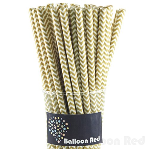 Biodegradable Paper Drinking Straws (Premium Quality), Pack of 100, Chervon - Gold