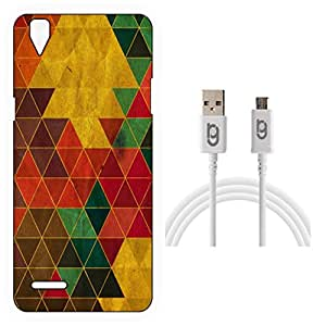 Designer Hard Back Case for Oppo F1 with 1.5m Micro USB Cable