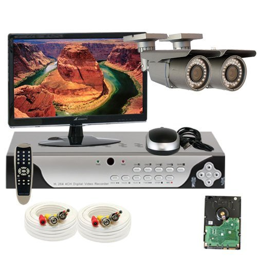 """Best Sale High End Professional 4 Channel H.264 960H & D1 Realtime Dvr Security Camera System With 2 X 1/3"""" Exview Had Ccd Ii With Effio-E Dsp Devices Camera. 700 Tv Lines, 2.8~12Mm Varifocal Lens, 42Pcs Ir Led, 115 Ft Ir Distance. Free Led Monitor. 960×4"""