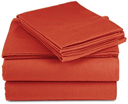 Pinzon Lightweight Cotton Flannel Sheet Set - Twin Extra-Long, Burnt Orange