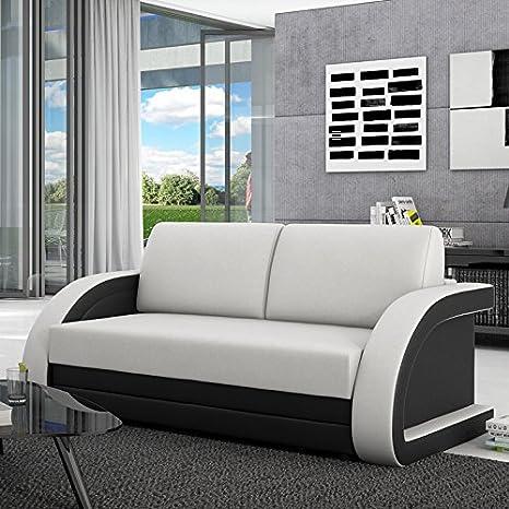 Sofá cama Aracne 120 cm negro con respaldo de cuero sintético blanco ronda Innocent
