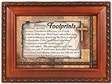 Footprints Cottage Garden Inspirational Woodgrain Traditional Music Box Plays Amazing Grace