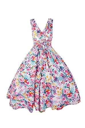 New Ladies 1950's Retro Vintage Floral Party Swing Dress - Size 14