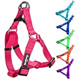 """Blueberry Pet Step-in Harnesses 1"""" Wide * 23.5-29.5"""" Chest Classic Solid Color Adjustable French Pink Dog Harness, Large"""