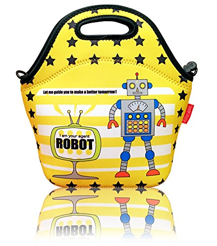 neoprene-insulated-robot-lunch-bag-for-kids-boys-zipper-secured-large-tote-bag-with-detachable-shoul