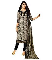 Shree Ganesh Black Cotton Printed Unstitched Churiddar Suit with Dupatta