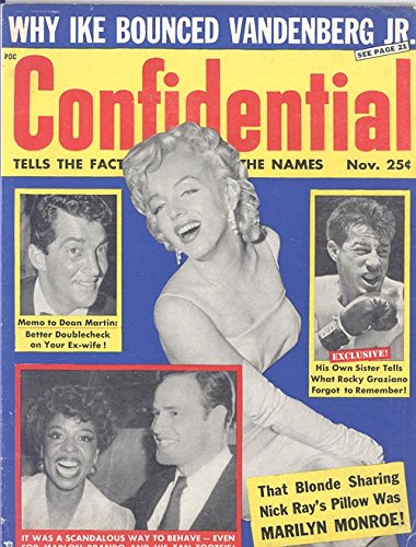 Confidential MAGAZINE  November 1956, Marilyn Monroe on Cover in Spaghetti Strap Dress & Long Gloves Earrings, ( That  Blonde Sharing Director Nick Rays Pillow Was MM ) VOL. 4 #5, Along with Dean Martin, Marlon Brando, Rocky Graziano on Cvr (Dean Graziano compare prices)