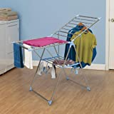 Household Essentials Adjustable Gullwing Style Clothes Drying Rack, Aluminum and Stainless
