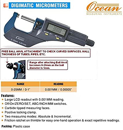 Digimatic Electronic Outside Micrometer (0-25mm)