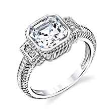 buy 925 Sterling Silver 5 Carat Asscher Cut Cz Simulated Diamond Wedding Engagement Ring Cubic Zirconia Cable Shank #Soe006