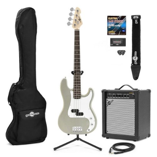 Electric G-4 Bass Guitar + 35W Amp Pack Silver
