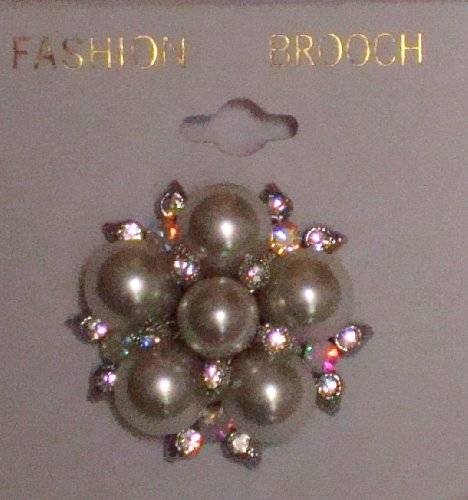 Sparkling Crystals Jades and Simulated Pearls on Genuine Gold Plated Gita Brooch Pin for Women and Teens