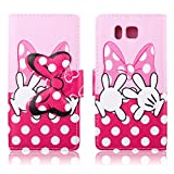 Fashion Cute Cartoon Pattern Pink Bow Bowknot Hand Wallet Flip Case Folio PU Leather Stand Cover with Card Slots for Samsung Galaxy Alpha G850F + Free Lovely Gift