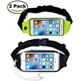 [2 Pack] MaxTeck Outdoor Running Dual Large Pocket Sweatproof Reflective Belt Waist Fanny Pack Pouch for iPhone 6S/6/6s Plus Samsung Galaxy S7/S6/Note 5/4/3 Clear Touch Screen Window - Equipment Bags