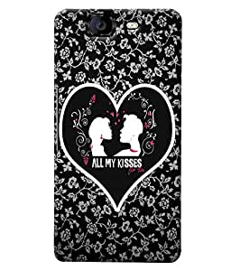 Fuson Leaves Heart Pattern Back Case Cover for MICROMAX A350 CANVAS KNIGHT - D3728