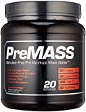 PREMASS - Pre Workout Mass Gainer, Caffeine Free (stackable) Potent Nitric Oxide Booster & Natural Size Builder with Organic Betaine, Carb 10, and 7 other Muscle Building Ingredients, 20 Servings