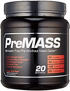 PREMASS, Pre Workout Mass Gainer Stack, 2-In-1 Caffeine Free Nitric Oxide Booster & Natural Muscle Builder with No Fillers or Dyes, Top Strength & Muscle Building Supplement with Cluster Dextrin, 688G