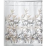 "InterDesign Stall Anzu Soft Fabric Shower Curtain, 54 x 78"", Black/Tan"