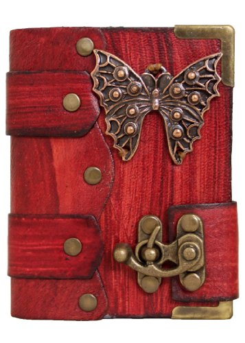 handmade-butterfly-pendant-on-a-red-leather-journal-with-lock-diary-sketchbook-leatherbound-