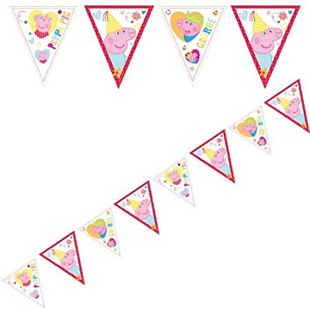 Peppa Pig Bunting A string of plastic Peppa Pig bunting holding 12 flags measures 12 ft to give plenty to decorate your party room ! Multiple Peppa Pig designs on plastic triangular shaped bunting. Co-ordinate with other items from the Peppa Pig rang...
