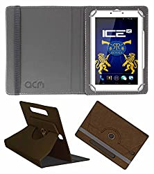Acm Designer Rotating Leather Flip Case For Ice Spectra Plus Rr Edition Tablet Cover Stand Brown