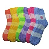 6 Pairs of Super Soft Non-Skid or No Non-Skid Fuzzy Slipper Socks