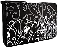 Black & White Fleur 15.4 inch Laptop Padded Compartment Shoulder Messenger Bag for K-Cliffs Lifestyle PC, Personal Computer by MyGift