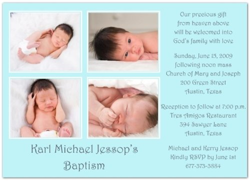 Four Me? In Blue Baptism Invitations Christening Invitations - Set Of 20 front-982782