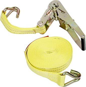 "Mazzella 005400-00021 Wide Handle Ratchet Tie-Down Assembly with Wire Hooks Both Ends, 2"" x 27'"