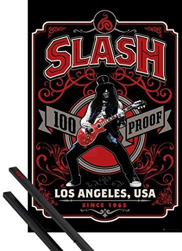 Poster + Sospensione : Slash Poster Stampa (91x61 cm) 100% Proof, Since 1965 e Coppia di barre porta poster nere 1art1®