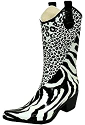 Black & White Animal Cowboy Rain Boots