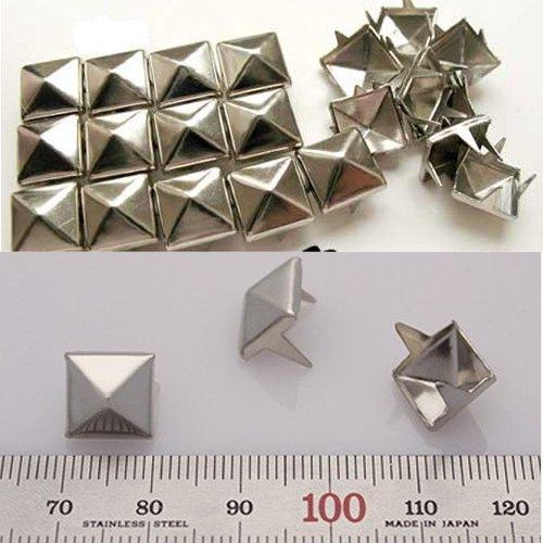 Xfy DIY Goth Punk Spikes Spots 10mm Silver Flat Back Metal Pyramid Studs 4 Prongs Leathercraft 100 PCS