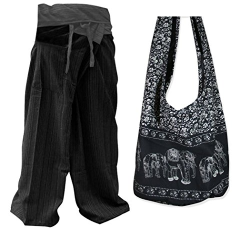 Thai Fisherman Pants Yoga Trousers Free Size and Bag Purse Thai Handmade SET