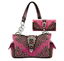 WESTERN BUCKLE HANDBAG PURSE WITH MATCHING WALLET - FUCHSIA